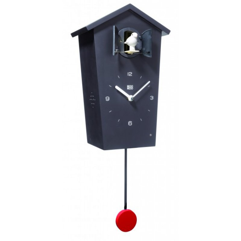 kookoo birdhouse wanduhr in schwarz mit pendel 159 00 chf. Black Bedroom Furniture Sets. Home Design Ideas