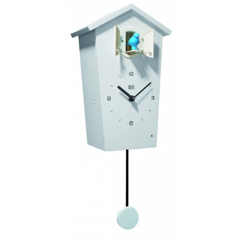 kookoo birdhouse wanduhr in weiss mit pendel 159 00 chf. Black Bedroom Furniture Sets. Home Design Ideas