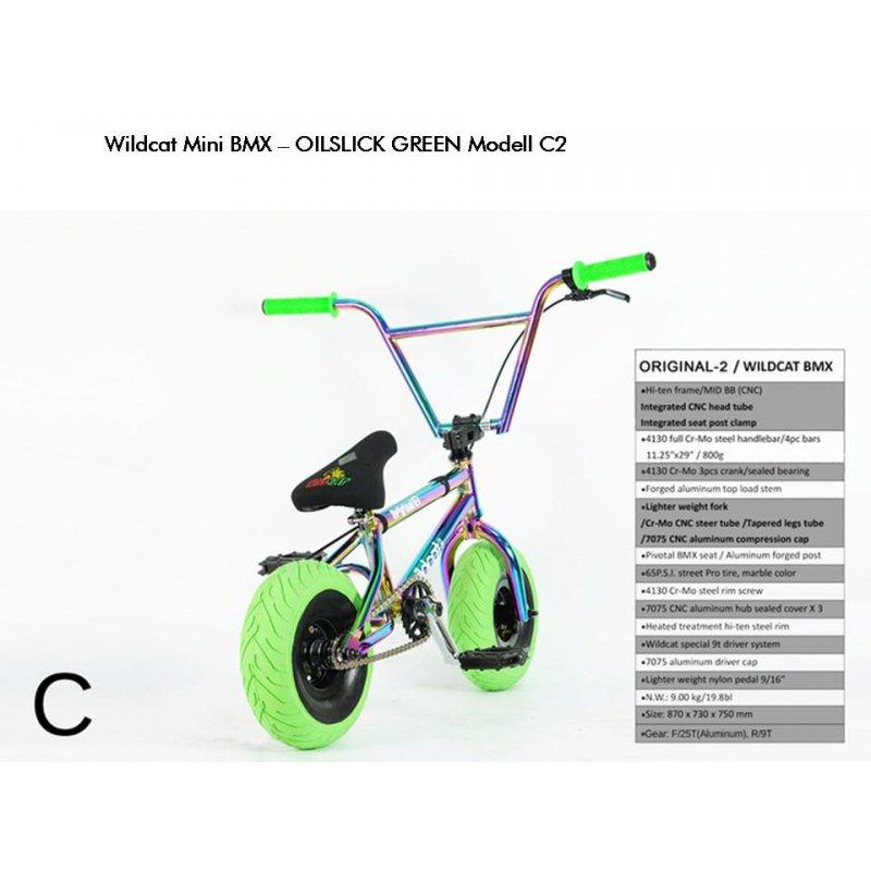 MINI BMX Bike - WILDCAT ORIGINAL 2, C2, Oil Slick GREEN, ALU-Rahmen,